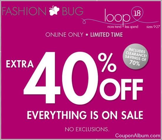 fashion bug 40 off coupon