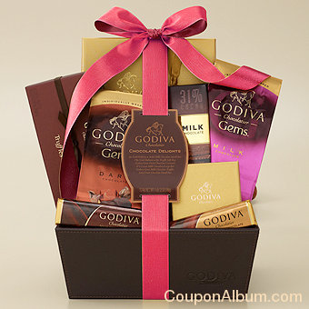 chocolate delights gift basket with spring ribbon