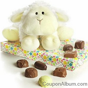 easter lamb plush with assorted chocolates