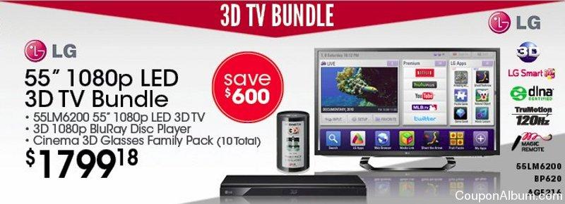LG 55LM6200 3D LED TV Bundle