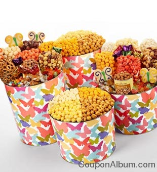 popcorn tins and snack assortments butterfly design