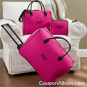 pretty pink embroidered 3-piece luggage set
