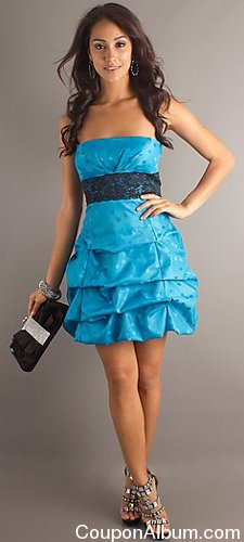 short strapless empire waist bubble dress