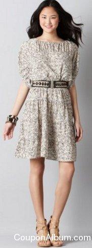 lace print ruched drawstring peasant dress