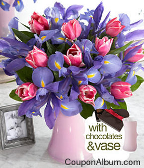 moms delight with pink vase & chocolates