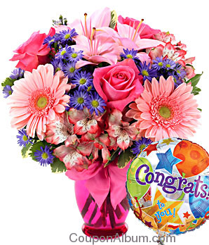 pink delight bouquet congratulations