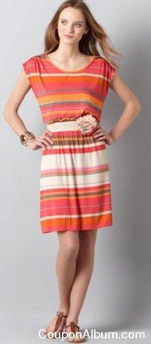 stripe smocked waist t-shirt dress