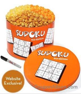 sudoku popcorn tins