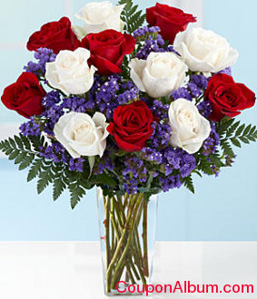 long stemmed patriotic roses