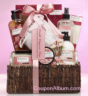 cherry blossom scented spa gift basket