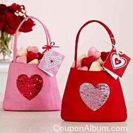 mini bling treat heart bag with candy
