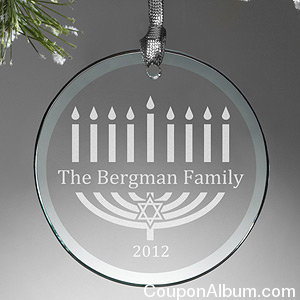 Menorah Personalized Glass Ornament