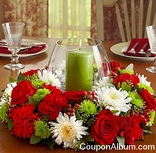 Holiday Centerpiece with Hurricane & Pillar Candle
