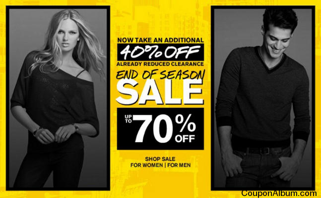 EXPIRING Express End of Season Sale - Up to 70% off + Extra 30% Off Express is taking up to 70% off select items during the End of Season Sale. Even better, get an additional 30% off sale items (discount applies in cart, qualifying items marked).