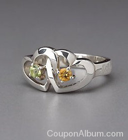 sterling silver birthstone two forever ring
