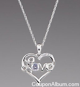 sterling silver love in heart cz pendant necklace