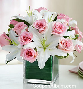 modern embrace pink rose lily cube