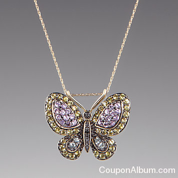 multi color cz butterfly pendant necklace