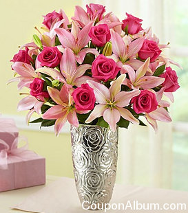 magnificent pink rose-lily bouquet