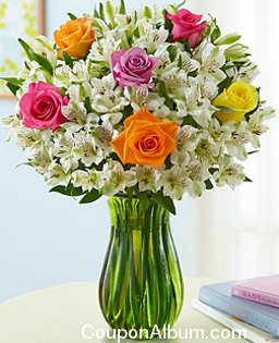 summer rose-peruvian lily bouquet