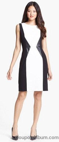 faux leather trim colorblock sheath dress