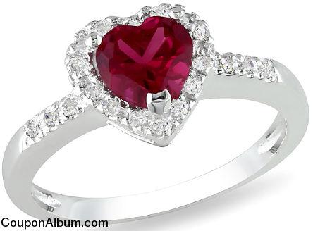 ruby & diamond sterling silver heart ring