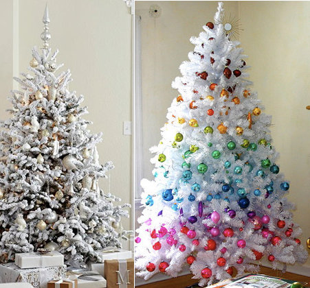 white christmas tree with silver and red decorations photo13