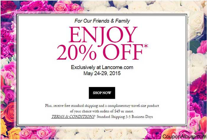 Save with 18 Lancome coupon codes or 6 free shipping deals & offers for December. Today's promotion: 15% Off Your First Order Over $49 + Free Gift + Free Shipping With Email Sign Up.